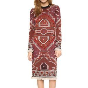 Tory Burch tapestry burgundy embroidered dress